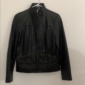 Caslon black, leather moto jacket. NWOT.